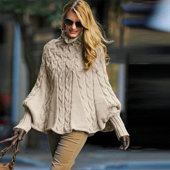 2019 Womens Lady Turtleneck Sweater New design Cloak Casual Solid Loose Long Sleeve Pullover Knitted Cashmere Women Top New 2