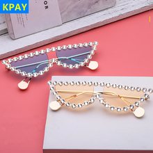 Triangle Shades Rhinestone Fashion Diamond Frame Cat Eye Sunglasses Women Luxury Brand Vintage Sunglasses For Female Metal UV400 triangle insert metal cat eye sunglasses