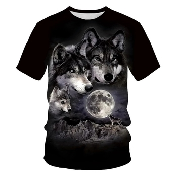 Fox and wolf pattern 2020 T-shirt men 3D printing fashion women soft texture casual mens clothing