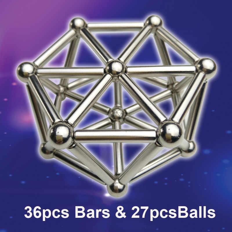 DIY บล็อกอาคารแม่เหล็กชุดก่อสร้าง 36pcs Magnetic Stick & 27pcs ลูกบอลโลหะ, แม่เหล็ก Constructor สำหรับของขวัญเด็ก