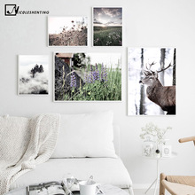 Deer Flower Grass Sunset Landscape Picture Nature Scenery Scandinavian Poster Nordic Style Print Wall Art Canvas Painting