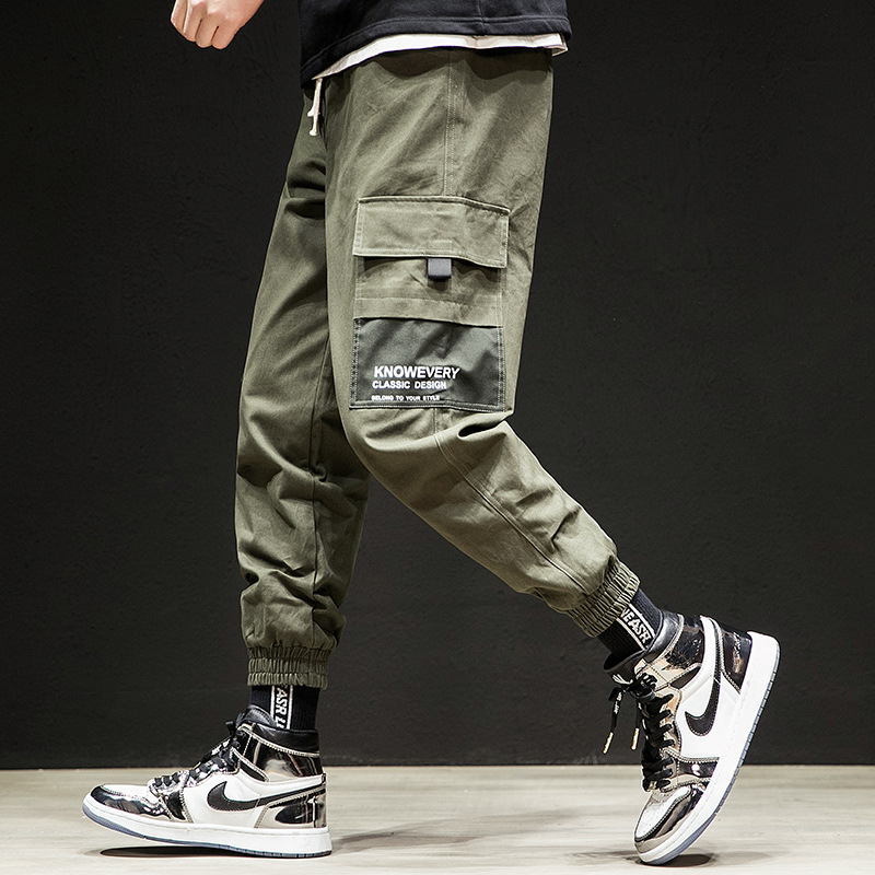 Men's work pants sport casual speed-skating pants men?s�wear� multi-pocket Bunch of foot Loose hip hop bib�overall?jogging pants