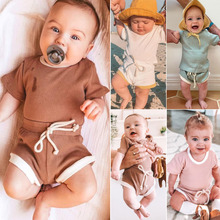 Baby Summer Clothing Infant Baby Girl Boy Clothes Fashion Short Sleeve Cute Tops T-shirt+Shorts Pants Ribbed Solid Outfits 0-3T newborn infant baby boys girls clothes set t shirt tops short sleeve pants cute outfits clothing baby boy