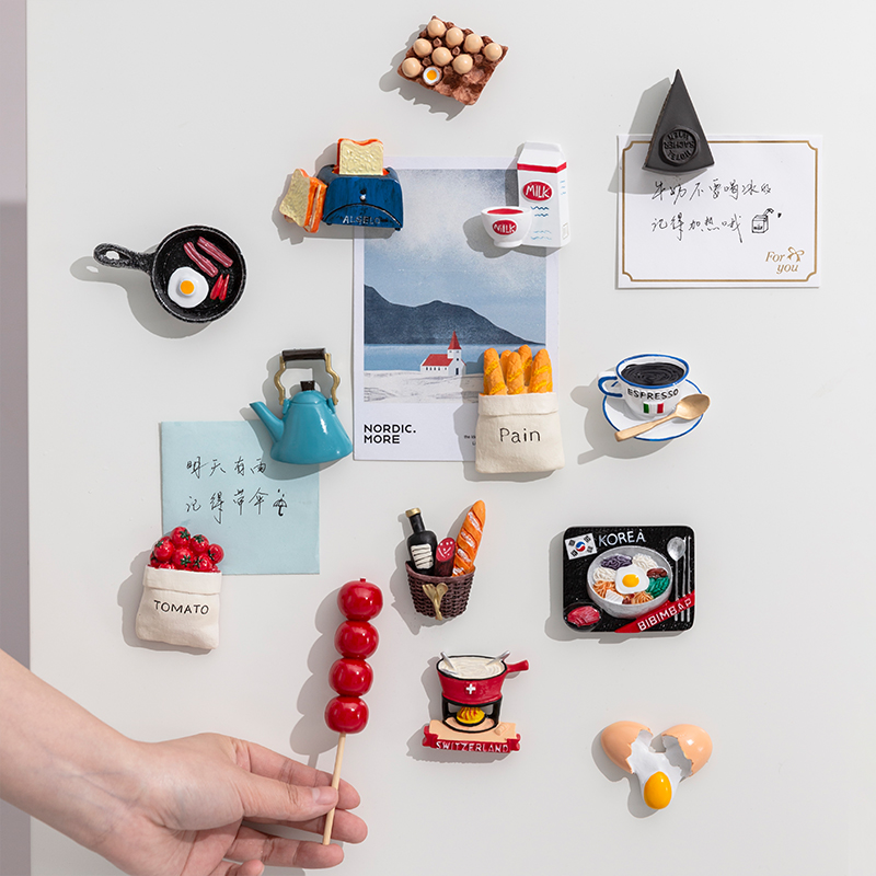 Image 5 - Cute 3D Resin Fridge Magnets Cartoon Bread Egg Refrigerator Message Sticker Kids Children Toy Home Christmas Decoration 1pc-in Fridge Magnets from Home & Garden