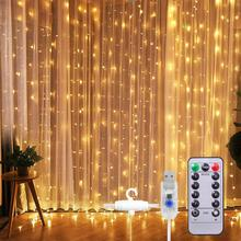 Window Curtain String Light 300 LED 8 Lighting Modes Fairy Lights USB Powered Waterproof Lights for Bedroom Party Wedding Home