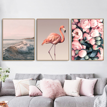 Flamingo Sea Rose Wall Picture Poster Print Canvas Painting Calligraphy Decor for Living Room Bedroom Home Frameless