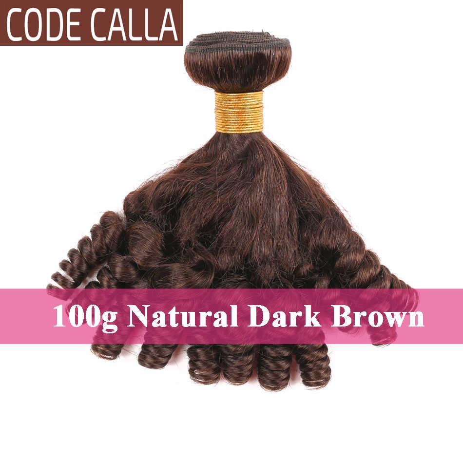 Code Calla Bouncy Lockige Brasilianische Remy Haar 8-26Inch Doppel Gezogen Bundles Funmi Haar stil Extensions Natürliche Schwarz dunkelbraun