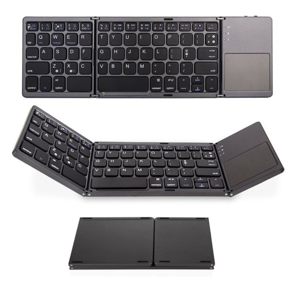 Mini Folding Keyboard Bluetooth Foldable Wireless Keypad With Touchpad For Laptop Tablet PC Mobile Phones