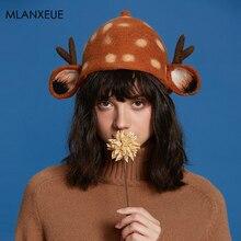 Теплая шерстяная шапка Elk для женщин, зимняя Новинка, модные шапки-ведерки, утолщенная женская шапка, новогодний подарок, милый Рождественский мультяшный головной убор