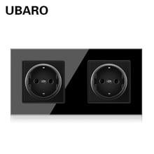 UBARO 172*86mm German Standard Crystal Tempered Glass Panel Wall Electrical Socket With 5V 2100mA Power Home Plug AC100-250V 16A
