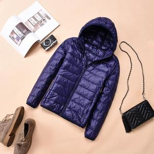 Image 3 - 2018 Womens Autumn Jackets Fashion Ultra thin with Hooded Ladies Slim Coats Plus Size 4XL 5XL 6XL 90% Duck Down Female Tops Coat