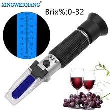 Densimètre pour la concentration du vin, réfractomètre à alcool à main sucre 0-32% alcool bière 0-32% Brix raisins ATC