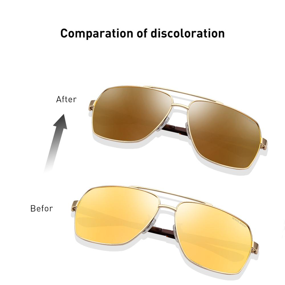 Image 2 - CAPONI Vintage Sunglasses Photochromic Polarized Fashion Eyewear For Men Square Night Vision Driving Sun Glasses UV400 BSYS8002-in Men's Sunglasses from Apparel Accessories