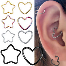 Body Jewelry Surgical Steel Daith Heart Ring Cartilage Tragus Piercings Hoop Lip Nose Rings Orbital Ear Stud Helix Jewelry(China)