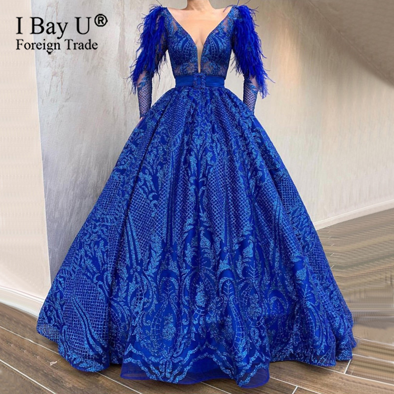 Real Photo Glued Glitter Lace Sexy Formal Feather Evening Dress Illusion Top Puffy Skirt 2020 Long Sleeve Fashion Evening Gown