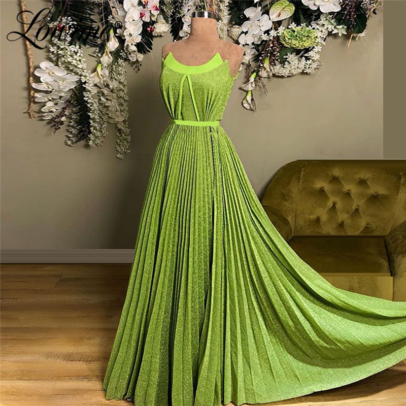 Amazing Green Prom   Dresses   2019 New Arrival Strapless Long Party Gowns Ruched African A Line   Evening     Dress   Robe De Soiree