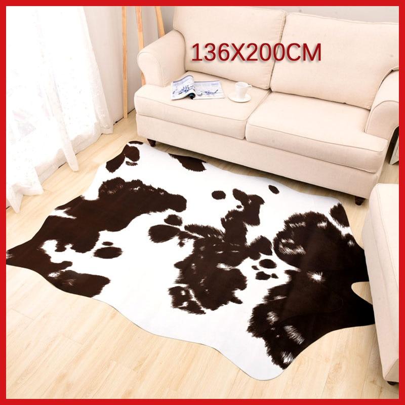 Sholisa Cowhide Cow Hide Rug Carpets For Living Room Bedroom Rug Polyester Morden Cow Skin Rug For Home Decorative