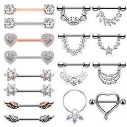 Brinco transparente de zircônia com anéis, 1 par de piercing de coração e mamilo, joias para o corpo, barra de mamilo, pircado, mamilo, sexy mulheres
