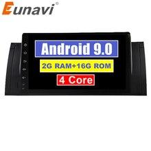 Eunavi Quad Core 9 zoll Android 9,0 PC 1 Din Auto Radio GPS Radio Stereo Für BMW E53 E39 X5 unterstützung TV 3G WiFi OBD DVR Bluetooth