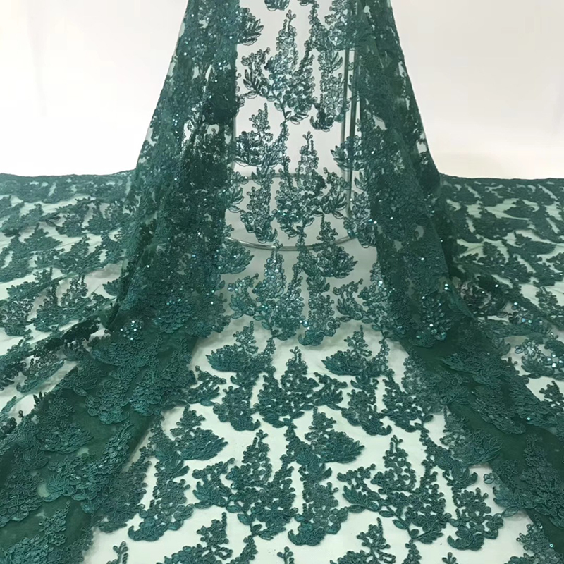 2020 African Lace Fabric High Quality Swiss Voile Lace Embroidered Tulle Fabric With Sequins For Nigeria Wedding Evening Dress