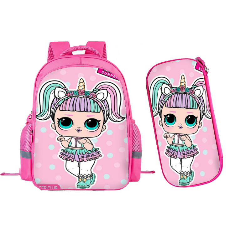 LOL Surprise Dolls Pink Student Backpack Girls Cartoon Cute Schoolbag 2 in 1 Pencil bag Korean Children Backpack Gifts