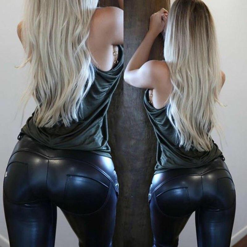 Women Stylish PU Trousers Wet Look Leather Leggings Black Trousers Ladies Push Up Pants Slim Capris
