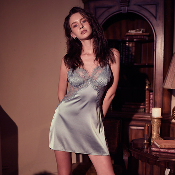 Sexy Women's Sleepwear Perspective Lace Nightdress Thin  Homewear Nightwear Silk Sleeveless Nightgown Night Dress Size M-XXL 3