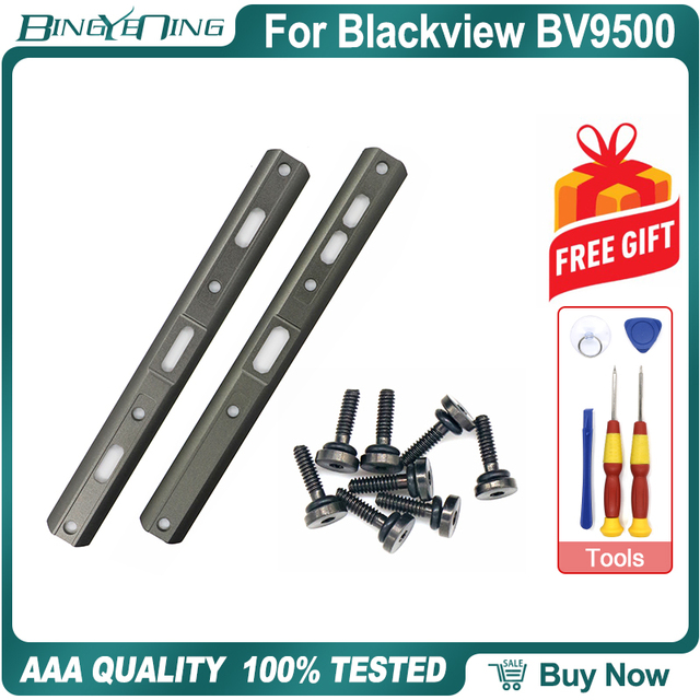 100% חדש מקורי שמאל וימין דקורטיבי חתיכות עבור Blackview BV9500 פרו בחזרה דיור צד מתכת ברגים אביזרי חלקים