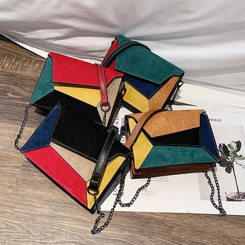 SMOOZA  Retro Matte Patchwork Crossbody Bags for Women Messenger Bags Chain Strap Shoulder Bag Lady Small Flap criss-cross Bag