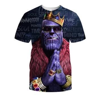 Letnie koszulki z krótkim rękawem męskie koszulki z krótkim rękawem fajne koszulki z nadrukiem 3D Thanos koszulki z nadrukiem hip-hopowe męskie koszulki 3D Streetwear Plus rozmiar tanie i dobre opinie CN (pochodzenie) O-neck Short Sleeve Suknem Poliester spandex Mikrofibra Na co dzień Drukuj harajuku summer tops tee shirt homme