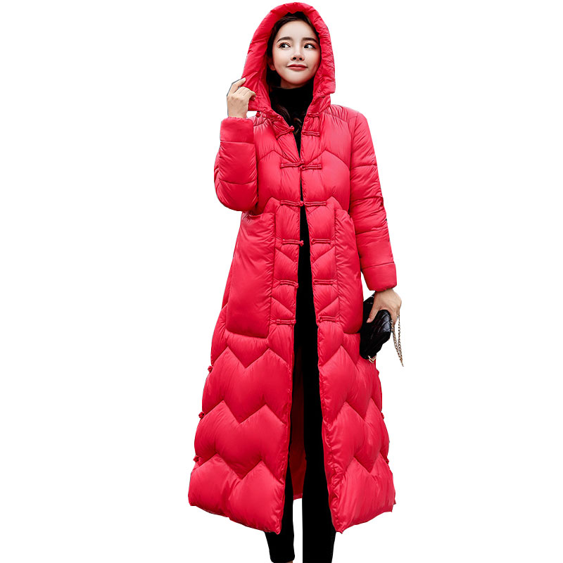 Elastic Hooded Winter Down Coat Jacket Long Warm Women Casaco Feminino Abrigos Mujer Invierno 2018 Parkas Outwear Cotton-Padded
