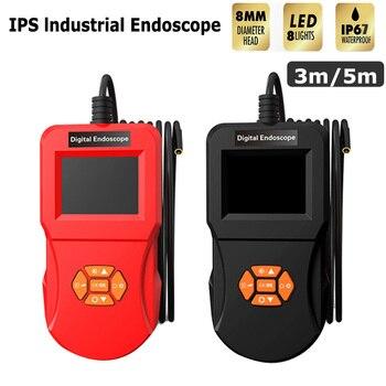 8MM Lens Screen inspection endoscope camera waterproof borescope 2.4 inch 3m/5m HD TFT IPS Screen camera Industrial inspection
