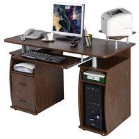 Costway Computer PC Desk Work Station Office Home Monitor&Printer Shelf Furniture Walnut