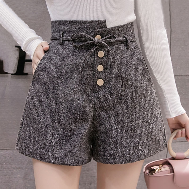 Shorts Women 2019 Elastic Waist Loose Pockets Bow Solid Casual Shorts Skirts High Waisted Shorts For Women Black Shorts 0427