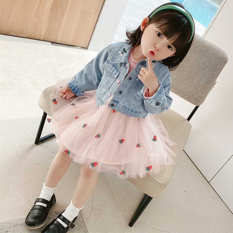 HYLKIDHUOSE Spring Autumn Baby Girls Clothing Sets Female Children Denim Jacket Strawberry Lace Dress Infant Clothes Kids Outfit
