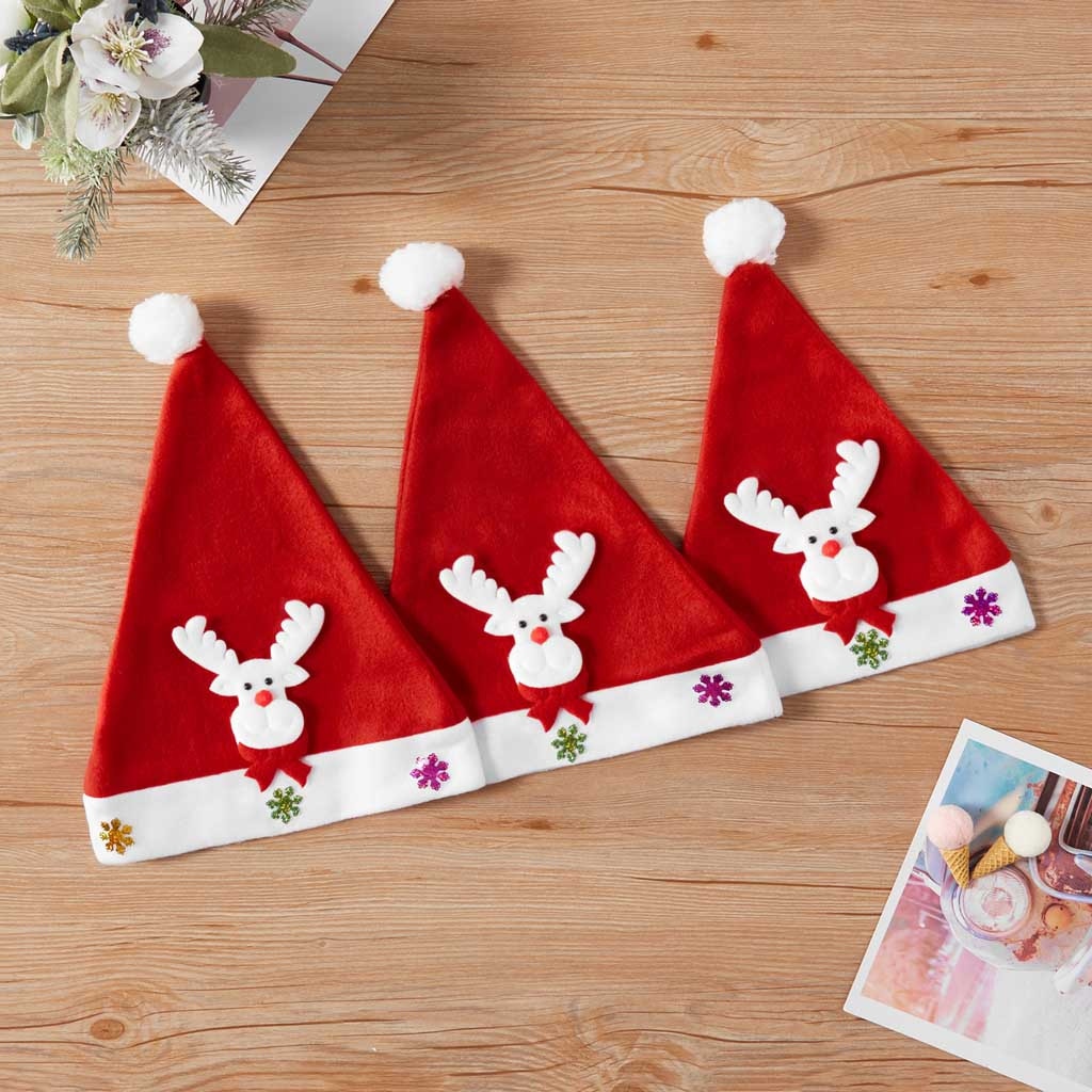 Christmas Dress Up Caps Ornaments Decoration Women Men Christmas Hat Children Boys Girls Santa Cap For Xmas Party Accessories