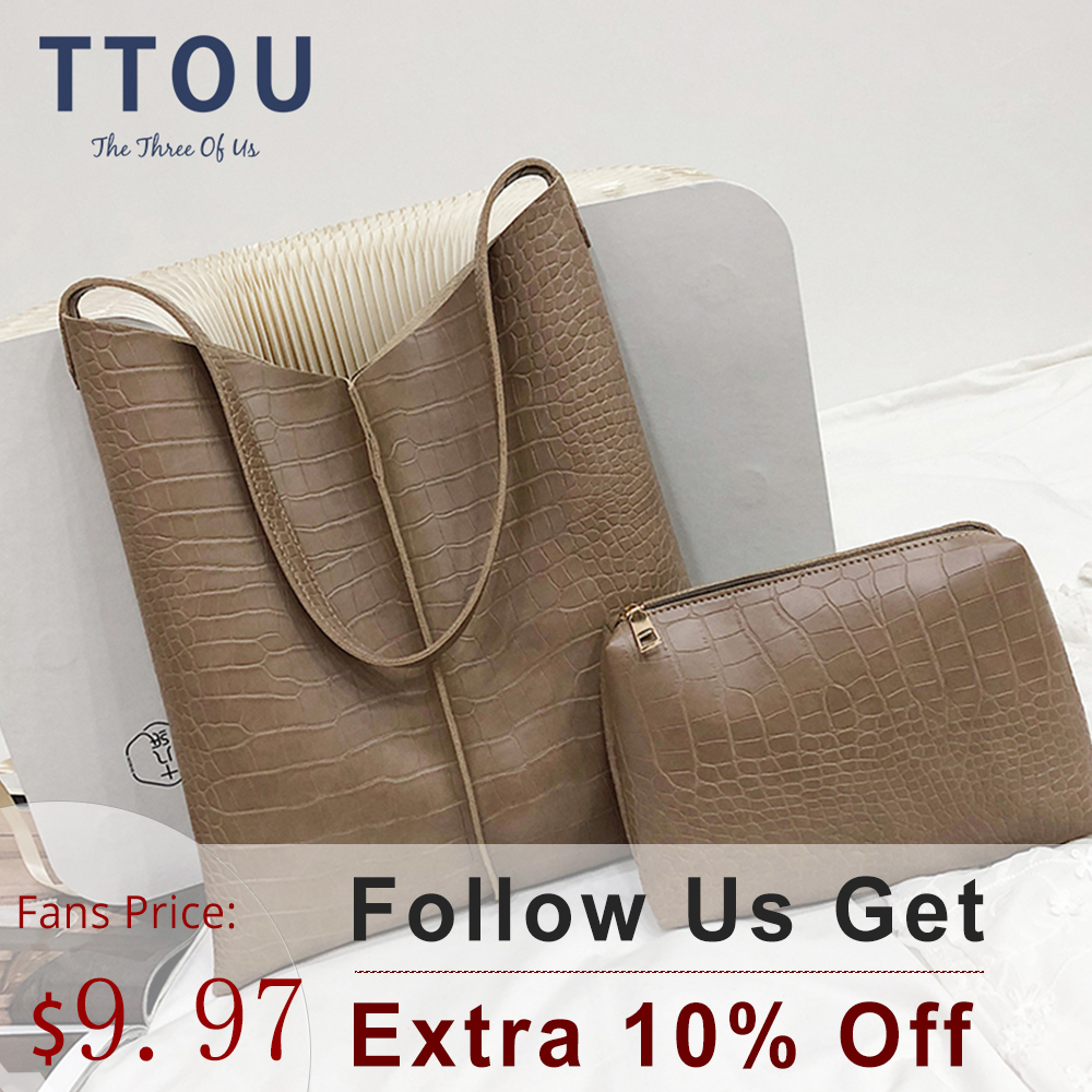 TTOU Handbags Women Big Capacity Messenger Shoulder Bags Leather Bucket Ladies Casual Solid Crocodile Handbag Purse 2pcs/set