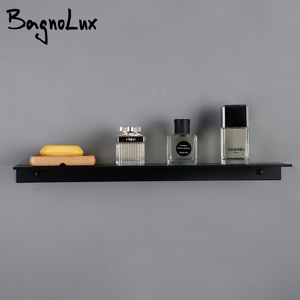 White Black Aluminum Wall Mounted Type Single Tier Multipurpose Bathroom Kitchen Shower Room Toilet Accessories Shelves Rack