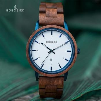 BOBO BIRD Fashion Watch Wooden Men Quartz Wristwatches Man Clock Christmas Gift In Box reloj hombre montre luxe homme