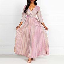 2019 Women Long Dress Pink Gradient Pleated V Neck Three Quarter Sleeve Floor Length Belt Elegant Party Plus Size XL