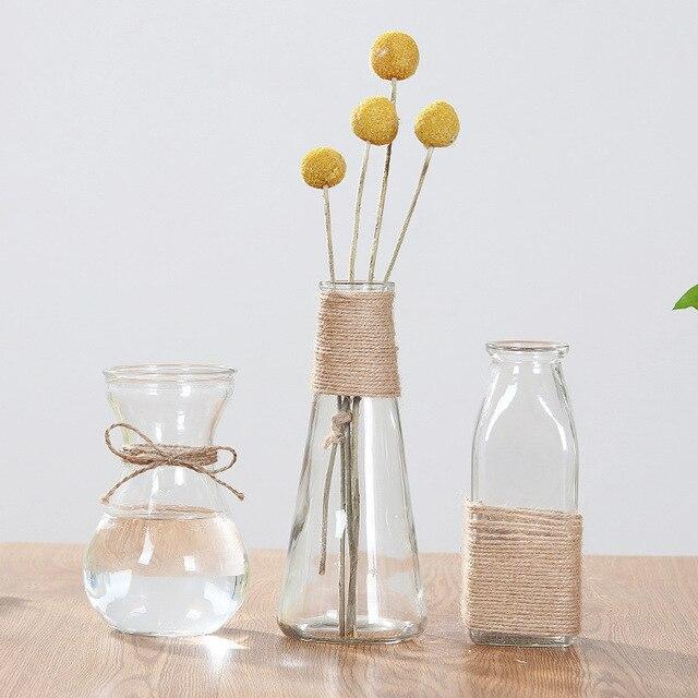 Creative Crystal Glass Vase Flower Arrangement Hydroponic Ornament European Simple Home Office Accessories Desktop Decoration 5