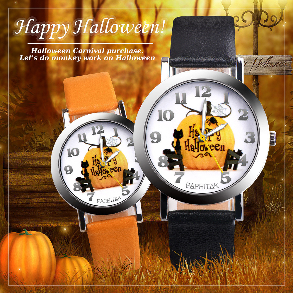 Elderly Creative Pattern Watches Leather Band Analog Quartz Vogue Watches Relogio Infantil Christmas Children Gift For Kid Q