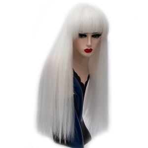Image 5 - Msihair طويل مستقيم الانفجارات الأحمر الباروكات الاصطناعية الطبيعية ألياف مقاومة للحرارة الشعر الأبيض الأرجواني الأخضر براون شعر مستعار تأثيري الإناث