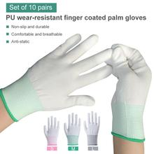 10 Pairs 3 Colors Protective Isolation Gloves Anti Static Gloves PU Coated Palm Coated Finger PC Antiskid For Protection цена 2017