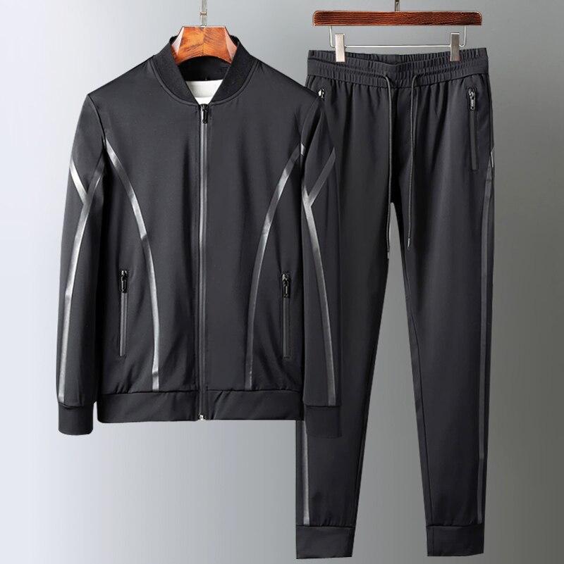 Sport Men Sets (sweatshirts+pants) Luxury Autumn Winter Add Velvet Man Sweatshirts Plus Size 5xl Elastic Waist Male Pants