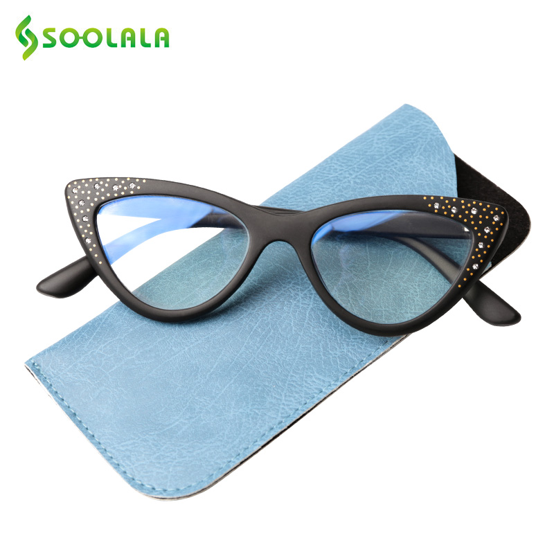 SOOLALA Anti Blue Cat Eye Reading Glasses With Rhinestone Women Tinted Pink Gray Lens Magnifying Presbyopia Readers Glasses