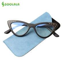 SOOLALA Anti Blue Cat Eye Reading Glasses With Rhinestone Women Tinted Pink Gray Lens Magnifying Presbyopia Readers
