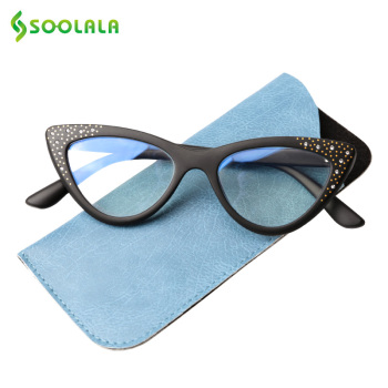 SOOLALA Anti Blue Cat Eye Reading Glasses With Rhinestone Women Tinted Pink Gray Lens Magnifying Presbyopia Readers Glasses select a vision sport readers with rectangular lens black