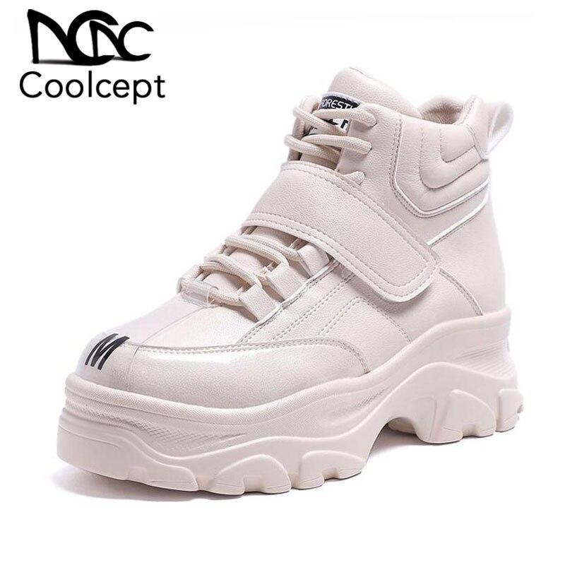Coolcept Women Sneaker Fashion Fur Inside High Heel Warm Shoes Women Lace Up Casual Shoes Platform Lady Footwear Size 35-41