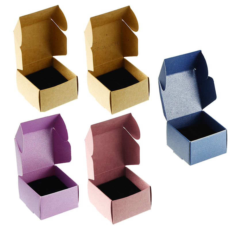50pcs/set 4x4x2.5cm Kraft Gift Box Paper Small Kraft Cardboard Jewelry Packing Box Handmade Candy Wedding Decor Party Supplies